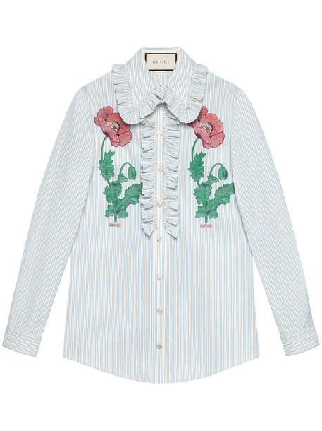 gucci shirt embroidered women cotton blue top
