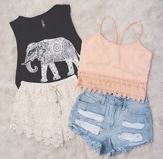top elephant top lace shorts shorts outfit tank top