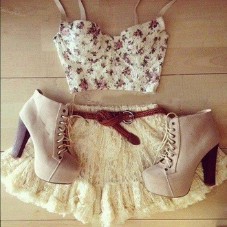top flowered shorts crop tops skirt lace dress tulle skirt summer outfits belt girly shoes