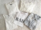 shirt,white,bad,t-shirt,sweater,white sweater,knitted sweater,tank top,cute,grunge,lace,blouse,black and white,jeans