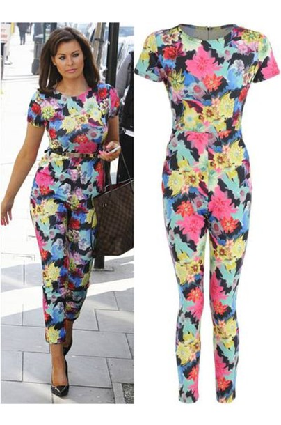 Pants: floral, jumpsuit, pink, blue, white, orange, neon, romper ...