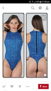 swimwear,one piece swimsuit,blue,thong,g string