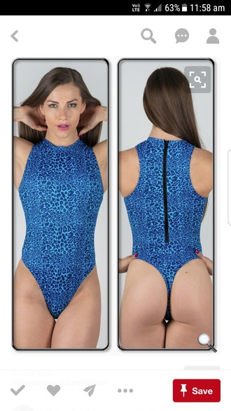 swimwear one piece swimsuit blue thong g string