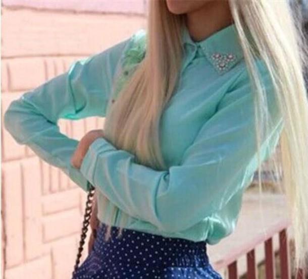 shirt blue shirt coral diamonds
