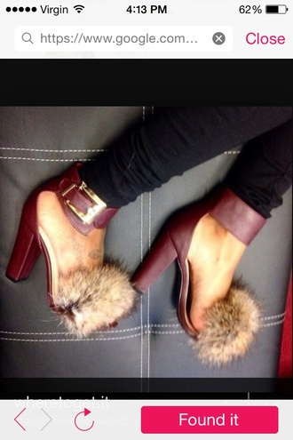 shoes fur furry heels open toes
