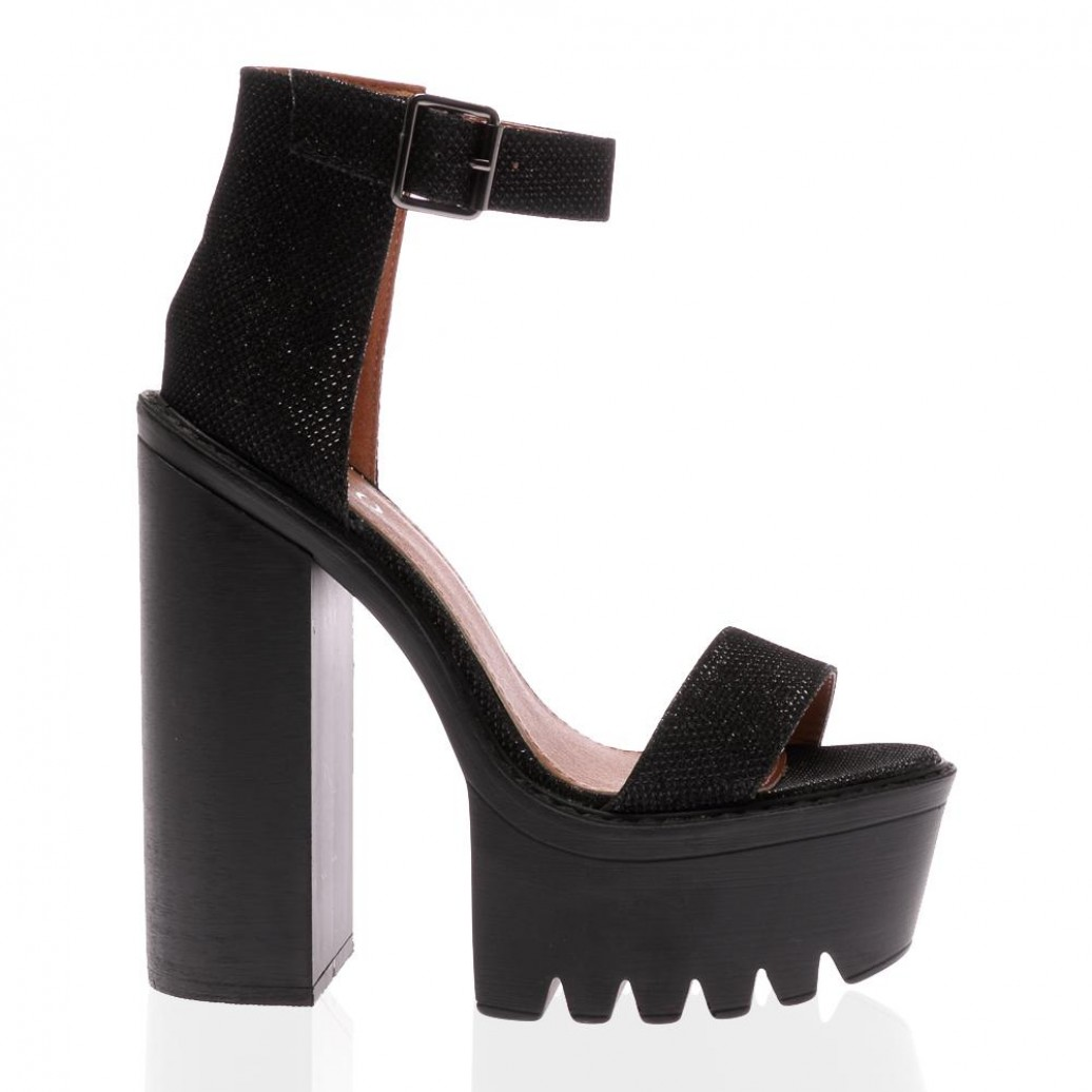 Jessi Black Glitter Cleated Sole Platform Shoes