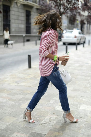 white blouse striped red shoes silver high heels