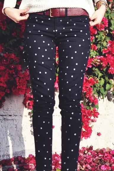 dotted polka dots white blue jeans navy