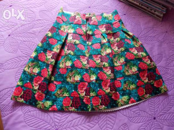 skirt skirt floral pleated skirt roses