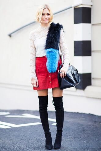 skirt red mini skirt mini skirt red skirt button up skirt top white top white lace top lace top over the knee boots black boots boots bag black bag streetstyle