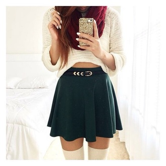 winter outfits belt cropped sweater skater skirt sweater skirt scarf socks