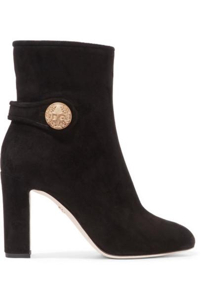Dolce & Gabbana - Embellished Suede Ankle Boots - Black