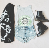 tank top,starbucks coffee,DrMartens,pattern,shorts,sweater,shoes,cardigan,jacket,swag short jeans,shirt,black,top,grey t-shirt,booties,boots,t-shirt,black and white,blouse,crop tops,cute top,coffee,denim shorts,coat,black cardigan