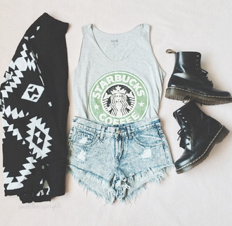 tank top starbucks coffee drmartens pattern shorts sweater shoes cardigan jacket swag short jeans shirt black top grey t-shirt booties boots t-shirt black and white blouse crop tops cute top coffee denim shorts coat black cardigan