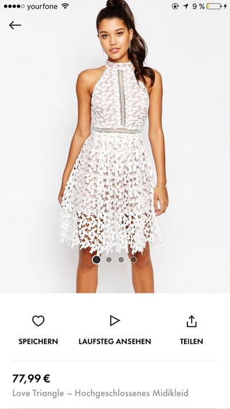 dress white lace dress halter dress