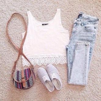 bag hat jeans shoes shirt top