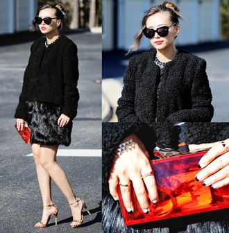 different cands blogger sandals clutch black coat coat bag skirt jewels transparent  bag
