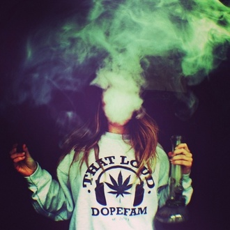 sweater tumblr dope smoking crewneck pullover marijuana dopefam sweatshirt asap weed blanc smoke shirt weed shirt t-shirt dope fam that loud blouse grey hoodie swag dopesfam grey sweater dope sweater