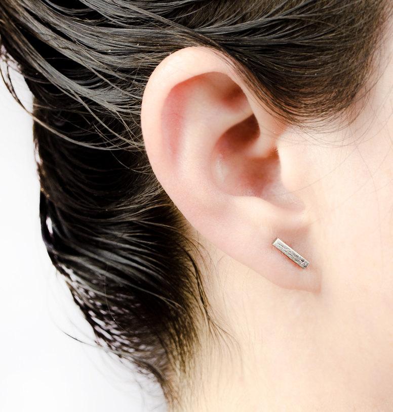 a5e4610b3 Bar Earrings, Oxidized Sterling Silver, Bar Stud Earrings, Line Earrings,  Small Post Earrings, Minimalist, Modern Jewelry, ...