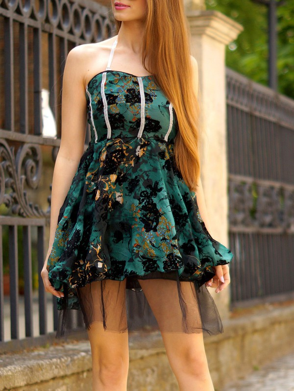 dress green fashion style strapless cute trendy gamiss