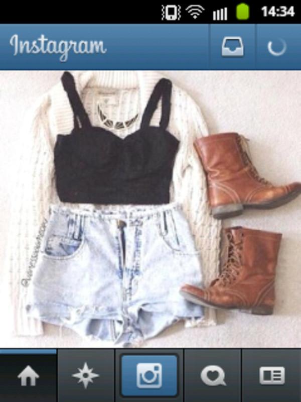 tank top debardeur crop gilet shoes necklace look instagram shorts jacket
