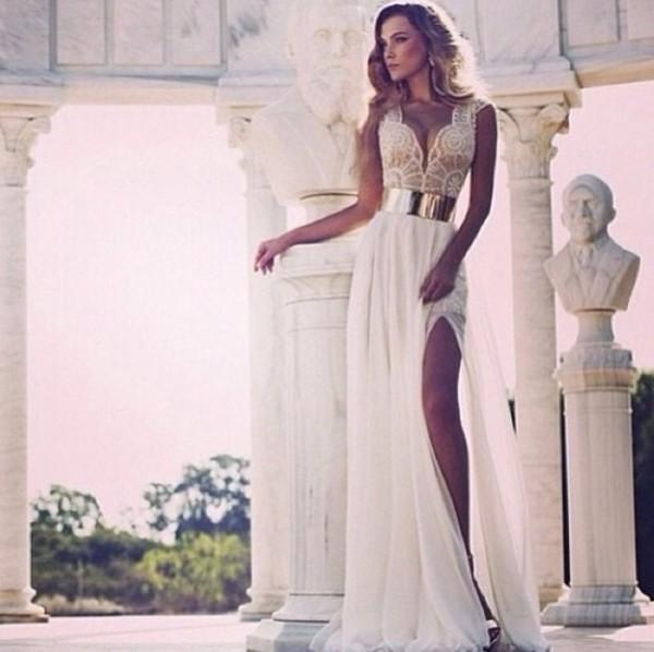 dress cute prom prom dress cream lace dress