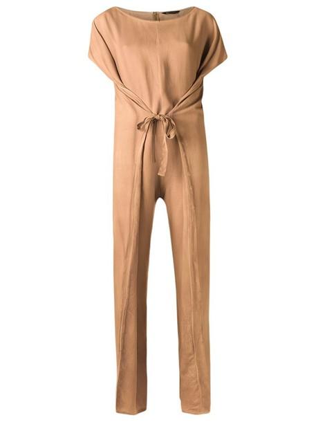 Uma Raquel Davidowicz round neck jumpsuit, Women's, Size: 40, Nude/Neutrals, Viscose