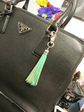 jewels,bag charm,leather charm,leather tassel,mint,prada bag,prada