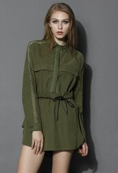 top,chicwish,army green,belted tunic
