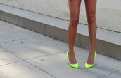 shoes,neon yellow,heels