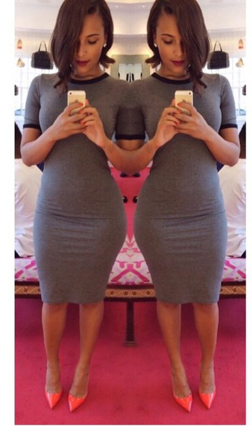 dress grey cotton dress