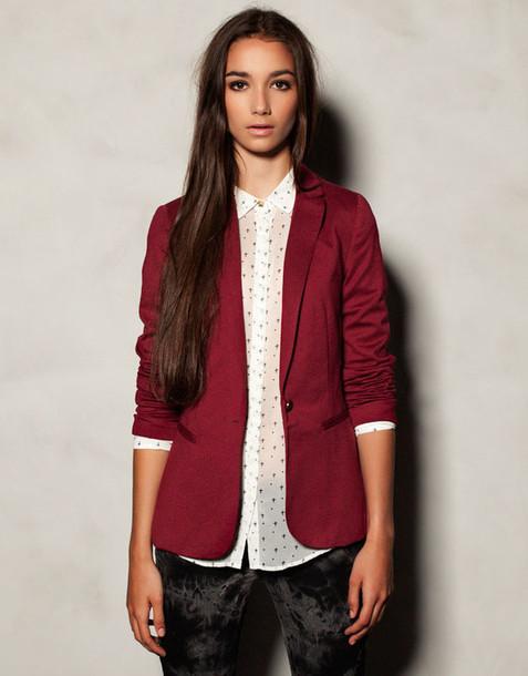 Get up Competitive Downtown  jacket, blazer, dark red - Wheretoget
