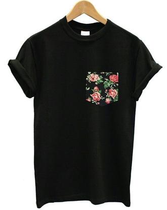 shirt black floral pocket t-shirt