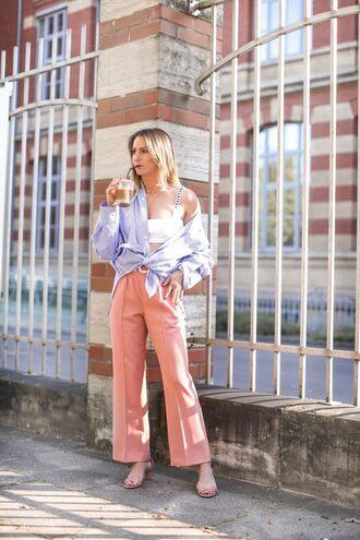 pants pink pants wide-leg pants shirt blue shirt top white top shoes