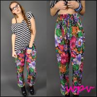 Vtg 80s sheer guaze floral print drawstring pants s m