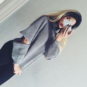 sweater,tumblr,grey,grey sweater,knit,knitwear,instagram,knitted sweater,elbow cut,turtleneck