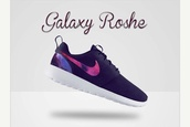 shoes,roshes,runner,galexy,trainers,running shoes,orange,pattern,girly shoes