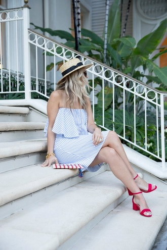 shoes tumblr red sandals mid heel sandals dress blue dress off the shoulder off the shoulder dress stripes striped dress mini dress hat sun hat straw hat bracelets gold bracelet jewels jewelry