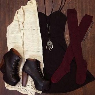 cardigan dress black jeans socks maroon socks shoes heeled combat boots necklace burgundy black dreamcatcher pumps tie up shoes white knee high socks boots heels black high heel boots black dress jewels