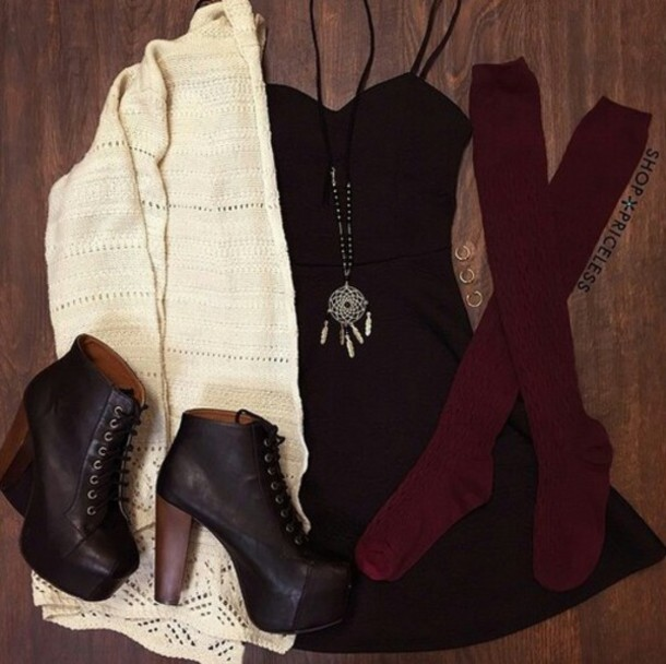 cardigan dress black jeans socks maroon socks shoes heeled combat boots necklace burgundy black dreamcatcher pumps tie up shoes white burgundy knee high socks boots heels black high heel boots black dress jewels