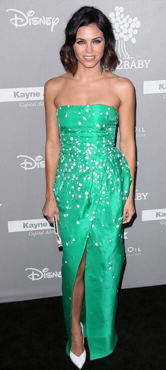 dress strapless slit dress green dress jenna dewan pumps bustier dress