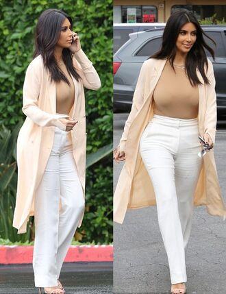 pants kim kardashian white pants sandals jacket cardigan