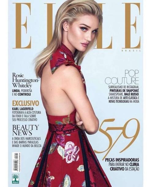 dress backless dress rosie huntington-whiteley floral dress editorial model