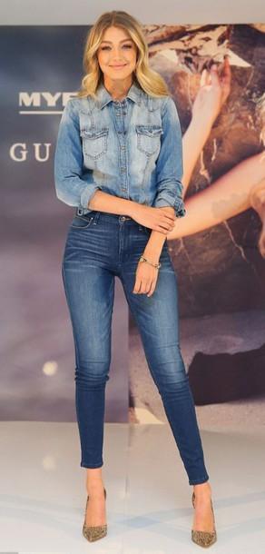 jeans shirt denim gigi hadid pumps denim shirt mid heel pumps