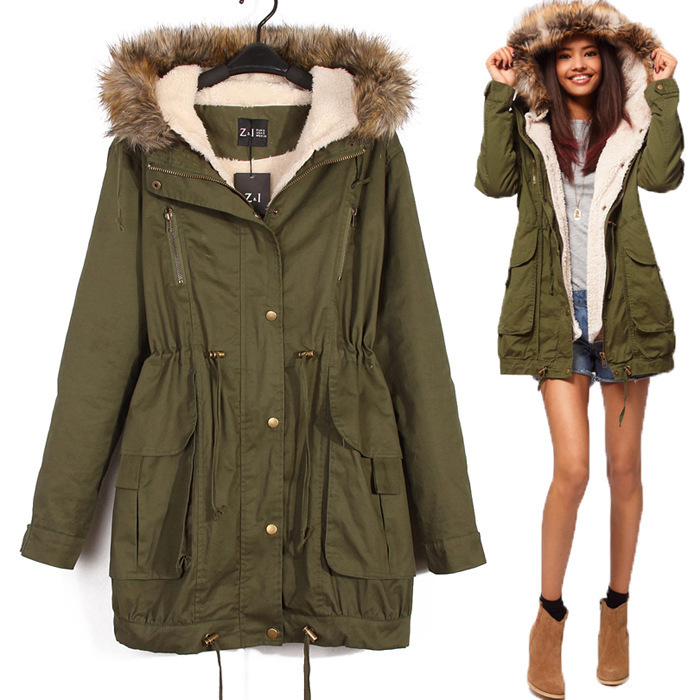 com : Buy 2015 Fashion Winter Women Coat Long Sleeve Cotton Hooded ...