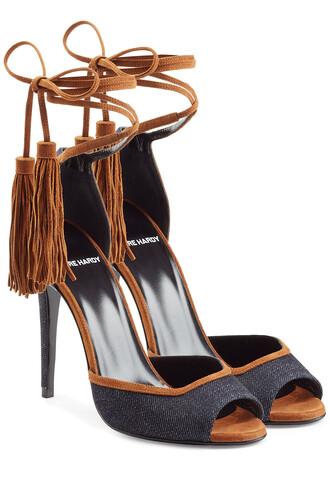 denim tassel sandals blue shoes