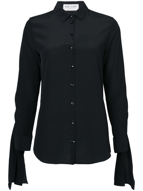 Saint Laurent shirt women classic black silk top