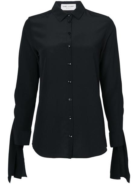 shirt women classic black silk top