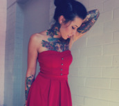 dress,red,Pin up,buttons,cute