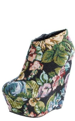 Amazon.com: floral wedge ankle booties black: shoes